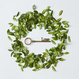 Πράσινος κύκλος με το χρυσό κλειδί Στοκ φωτογραφία με δικαίωμα ελεύθερης χρήσης