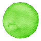 Πράσινος κύκλος watercolor Λεκές με τη σύσταση εγγράφου Στοιχείο σχεδίου που απομονώνεται στο άσπρο υπόβαθρο Συρμένο χέρι αφηρημέ Στοκ Εικόνες