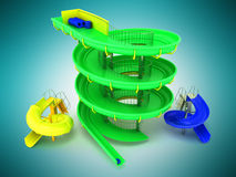 Πράσινος, μπλε, κίτρινος τρισδιάστατος ιπποδρομίων νερού Aquapark δίνει στο μπλε β ελεύθερη απεικόνιση δικαιώματος