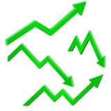 Πράσινος οικονομικός πάνω-κάτω την κίνηση των βελών Αυξανόμενες και μειωμένες τάσεις απεικόνιση αποθεμάτων