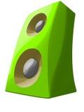 Πράσινος ομιλητής κινούμενων σχεδίων που στέκεται με το dinamics Απεικόνιση αποθεμάτων