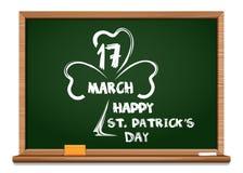 Πράσινος πίνακας με την εικόνα του τριφυλλιού, και συγχαρητήρια την ημέρα του ST Patricks 17 Μαρτίου Στοκ φωτογραφία με δικαίωμα ελεύθερης χρήσης