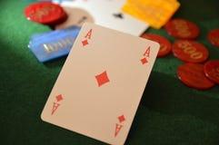 Πράσινος πίνακας φύλλων καρτών Playng Στοκ Φωτογραφίες