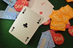 Πράσινος πίνακας φύλλων καρτών Playng Στοκ φωτογραφία με δικαίωμα ελεύθερης χρήσης