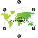 Πράσινος παγκόσμιοι χάρτης, χρήματα και bitcoin εικονίδιο Διανυσματική απεικόνιση
