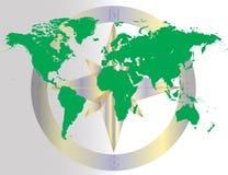 Πράσινος παγκόσμιος πλοηγώντας χάρτης Στοκ εικόνα με δικαίωμα ελεύθερης χρήσης