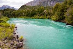 Πράσινος ποταμός με την πολύβλαστες βλάστηση και τις πέτρες Στοκ φωτογραφίες με δικαίωμα ελεύθερης χρήσης