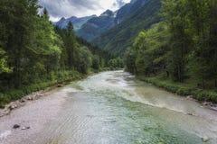 Πράσινος ποταμός Soca Στοκ Εικόνα