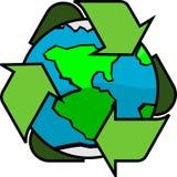 Πράσινος πλανήτης γήινης σφαιρικός ανακύκλωσης Στοκ Φωτογραφία