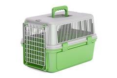 Πράσινος πλαστικός μεταφορέας κατοικίδιων ζώων, τρισδιάστατη απόδοση διανυσματική απεικόνιση