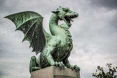 Πράσινος δράκος στο Λουμπλιάνα Σλοβενία Στοκ φωτογραφία με δικαίωμα ελεύθερης χρήσης