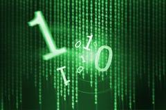 Πράσινος ρέοντας δυαδικός κώδικας διανυσματική απεικόνιση