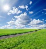 πράσινος δρόμος πεδίων Στοκ εικόνες με δικαίωμα ελεύθερης χρήσης