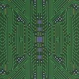 Πράσινος τυπωμένος πίνακας κυκλωμάτων με λεπτομερή τρισδιάστατο άρρωστο σύστασης δικτύων Στοκ Εικόνες