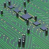 Πράσινος τυπωμένος πίνακας κυκλωμάτων με λεπτομερή τρισδιάστατο άρρωστο σύστασης δικτύων Στοκ φωτογραφία με δικαίωμα ελεύθερης χρήσης