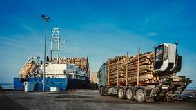 Πράσινος φέρνοντας πολτός ξύλου φορτηγών στο φορτηγό πλοίο στο λιμένα r o r στοκ εικόνα με δικαίωμα ελεύθερης χρήσης