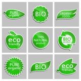 Πράσινος φιλικός, βιο, καθαρός οργανικός Eco αυτοκόλλητων ετικεττών, οργανική τροφή, φυσικό προϊόν, ΒΙΟ προϊόν Σύνολο Στοκ Εικόνες