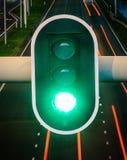 Πράσινος φωτεινός σηματοδότης με την κενή εθνική οδό στο υπόβαθρο, έννοια για να πάει προς τα εμπρός, θετική σκέψη, επιτυχία στοκ εικόνα με δικαίωμα ελεύθερης χρήσης
