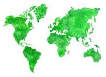 Πράσινος χάρτης watercolor Στοκ φωτογραφίες με δικαίωμα ελεύθερης χρήσης