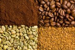 Πράσινος, ψημένος, έδαφος και στιγμιαίος καφές στοκ εικόνα με δικαίωμα ελεύθερης χρήσης