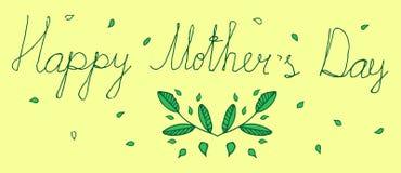 Πράσινος floral χαιρετισμός της ευτυχούς μητέρας Στοκ Εικόνα