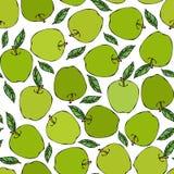 Πράσινο άνευ ραφής ατελείωτο σχέδιο της Apple Κόκκινος καρπός μήλων Το σπίτι παρασκευάζει Φυτική συλλογή συγκομιδών φθινοπώρου ή  Στοκ εικόνα με δικαίωμα ελεύθερης χρήσης
