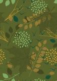 Πράσινο άνευ ραφής πρότυπο με τα φύλλα Στοκ Εικόνες