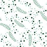 Πράσινο άνευ ραφής σχέδιο φύλλων και σημείων Διανυσματική ανασκόπηση στοκ φωτογραφία με δικαίωμα ελεύθερης χρήσης
