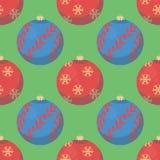 Πράσινο άνευ ραφής σχέδιο Χριστουγέννων με τα κόκκινα και μπλε μπιχλιμπίδια δέντρων διανυσματική απεικόνιση