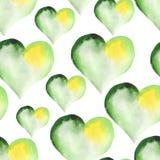 Πράσινο άνευ ραφής σχέδιο των καρδιών για το βαλεντίνο Στοκ Εικόνες