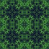 Πράσινο άνευ ραφής σχέδιο φαντασίας με τα αρχικά στοιχεία FO φυλλώματος Στοκ Φωτογραφία