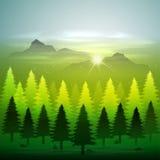 Πράσινο δάσος με το χιόνι ελεύθερη απεικόνιση δικαιώματος