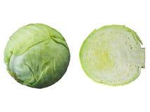 Πράσινο λάχανο περικοπών που απομονώνεται στο άσπρο υπόβαθρο στοκ φωτογραφίες με δικαίωμα ελεύθερης χρήσης