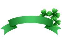 Πράσινο έμβλημα τριφυλλιού ημέρας του ST Patricks απεικόνιση αποθεμάτων