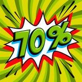 Πράσινο έμβλημα Ιστού πώλησης Λαϊκό έμβλημα προώθησης έκπτωσης πώλησης τέχνης κωμικό μεγάλη πώληση ανασκόπησης Πώληση 70 μακριά σ Στοκ Εικόνες