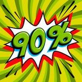 Πράσινο έμβλημα Ιστού πώλησης Λαϊκό έμβλημα προώθησης έκπτωσης πώλησης τέχνης κωμικό μεγάλη πώληση ανασκόπησης Πώληση 90 μακριά σ Στοκ Εικόνες