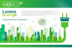 Πράσινο έμβλημα Infographics ενεργειακής οικολογίας προστασίας του παγκόσμιου περιβάλλοντος με το διάστημα αντιγράφων διανυσματική απεικόνιση