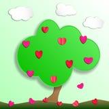 Πράσινο δέντρο με τα φρούτα των καρδιών αγάπης το έγγραφο έκοψε το ύφος Στοκ φωτογραφία με δικαίωμα ελεύθερης χρήσης