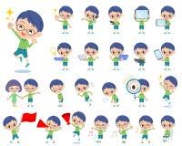 Πράσινο αγόρι 2 γυαλιών ιματισμού Στοκ Εικόνες