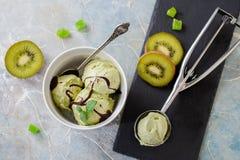 Πράσινο αναζωογονώντας παγωτό φυστικιών στο άσπρο κύπελλο Στοκ εικόνα με δικαίωμα ελεύθερης χρήσης