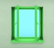 πράσινο ανοιγμένο παράθυρ&om Στοκ φωτογραφίες με δικαίωμα ελεύθερης χρήσης