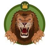πράσινο αρπακτικό ζώο λιονταριών βασιλιάδων κτηνών ανασκόπησης ελεύθερη απεικόνιση δικαιώματος