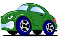 Πράσινο αυτοκίνητο κινούμενων σχεδίων Στοκ Φωτογραφία