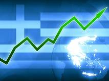 Πράσινο βέλος ευημερίας της Ελλάδας - απεικόνιση υποβάθρου ειδήσεων έννοιας Στοκ Εικόνα