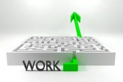 Πράσινο βέλος που περνά τη σταδιοδρομία εργασίας λαβυρίνθου Στοκ Εικόνες