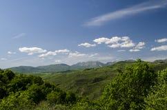πράσινο βουνό λιβαδιών Σύνθεση της φύσης Όμορφο τοπίο της μεγάλης άποψης άνοιξη Καύκασου της φύσης Άνοιξη στο Αζερμπαϊτζάν Στοκ εικόνα με δικαίωμα ελεύθερης χρήσης