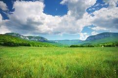 πράσινο βουνό λιβαδιών Στοκ Φωτογραφίες