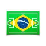 Πράσινο γήπεδο ποδοσφαίρου, σημαία της Βραζιλίας διανυσματική απεικόνιση