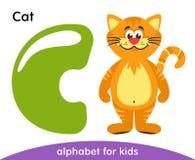Πράσινο γράμμα Γ και κίτρινη γάτα διανυσματική απεικόνιση
