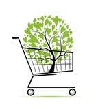 πράσινο δέντρο αγορών σχεδίου κάρρων σας απεικόνιση αποθεμάτων